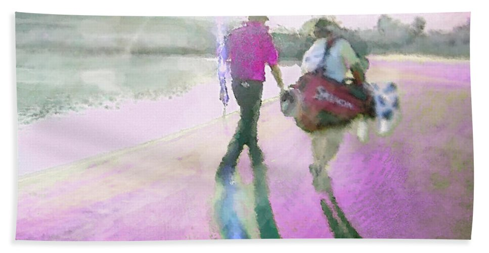 Robert Allenby Hand Towel featuring the digital art Robert Allenby Playing A Round Of Golf Dedicated To His Mother by Miki De Goodaboom