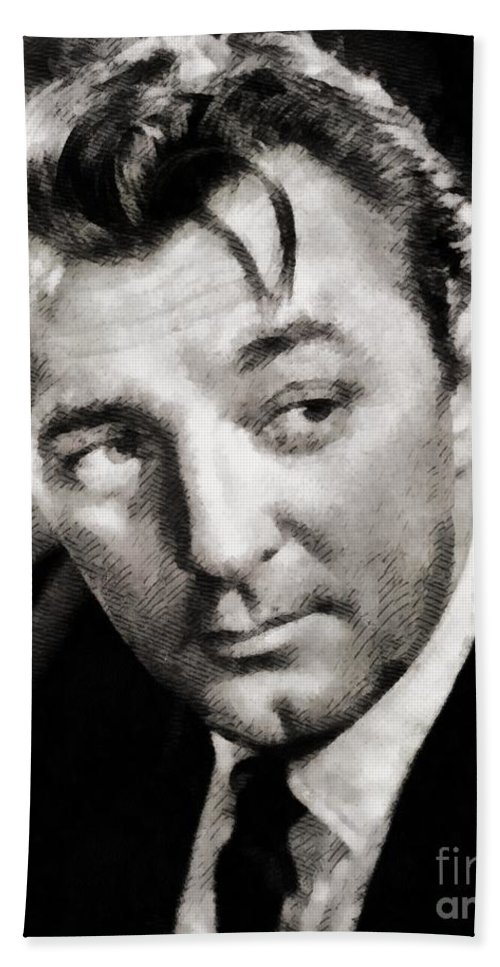 Hollywood Bath Sheet featuring the painting Robert Mitchum Hollywood Actor by John Springfield
