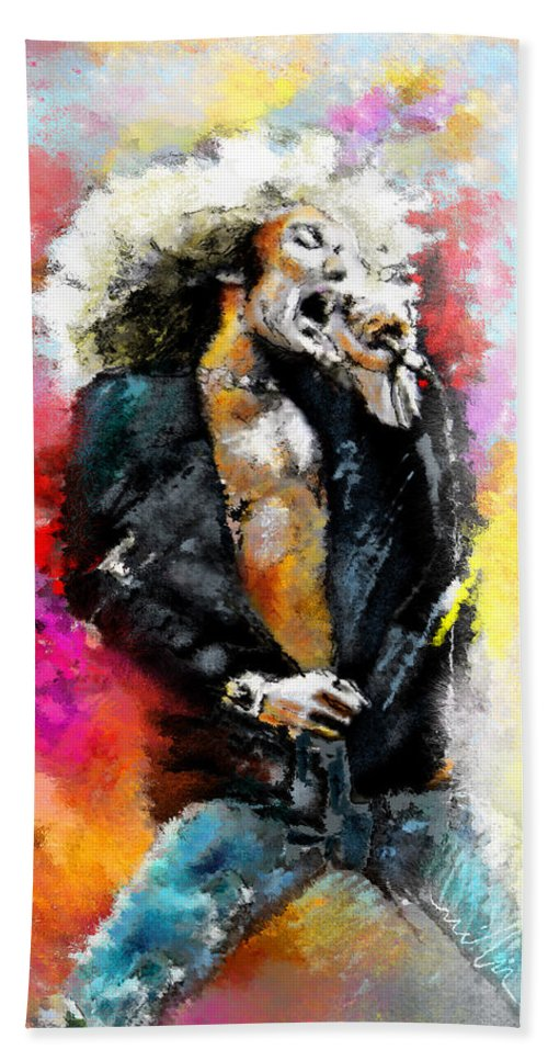 Music Hand Towel featuring the painting Robert Plant 03 by Miki De Goodaboom