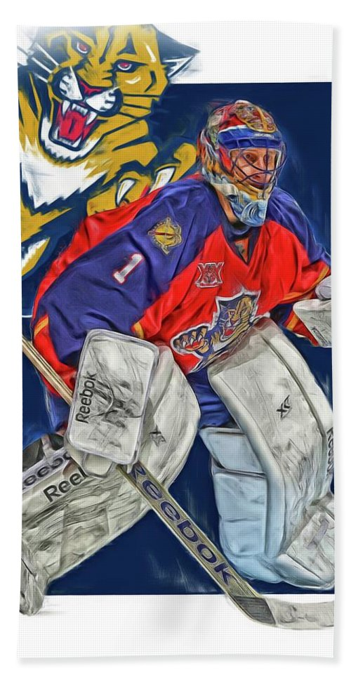 Roberto Luongo Florida Panthers Oil Art Bath Towel For Sale By Joe