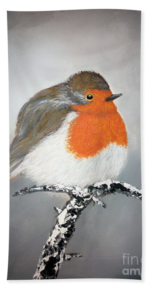 Robin Bath Sheet featuring the painting Robin by Andreea Moldovan
