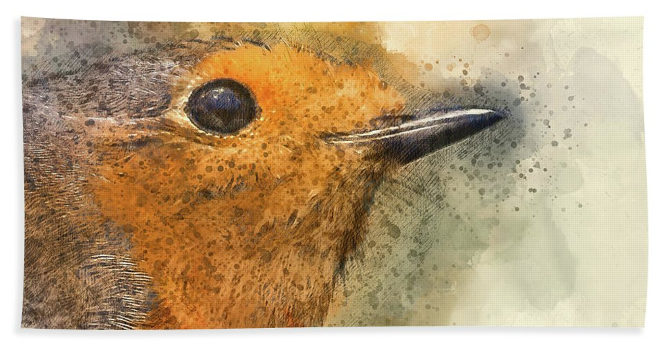 Robin Bath Sheet featuring the digital art Robin by Debbie Deboo