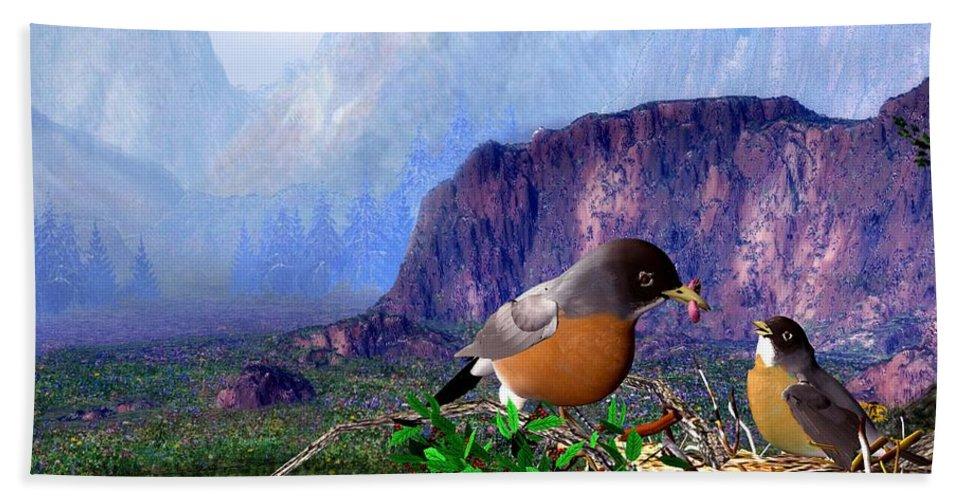 Bird Bath Towel featuring the digital art Robin Feeding Baby Robin by John Junek