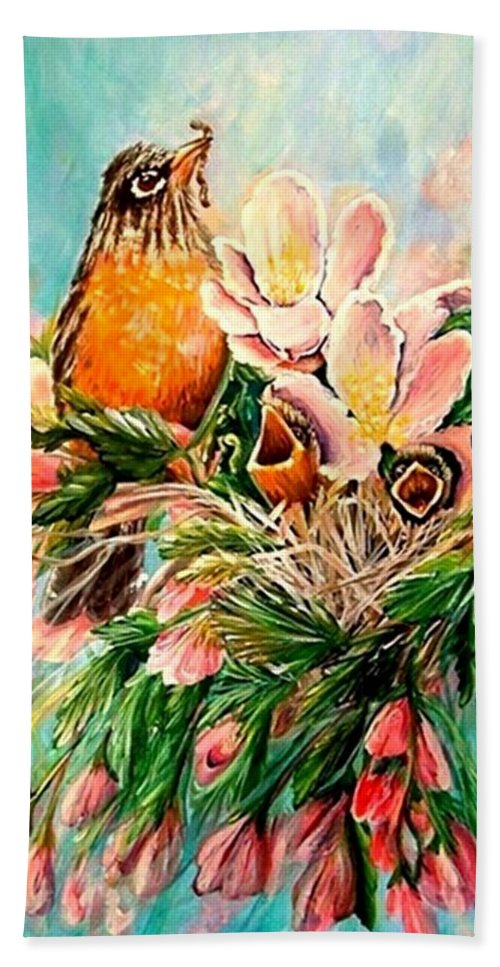 Robins Hand Towel featuring the painting Robin Hood by Carol Allen Anfinsen