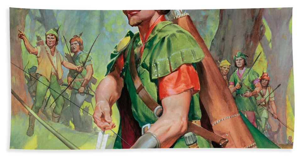Robin Bath Towel featuring the painting Robin Hood by James Edwin McConnell