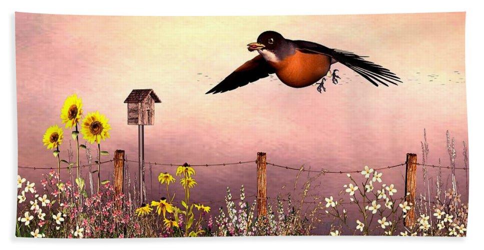 Bird Hand Towel featuring the digital art Robin In Flight by John Junek