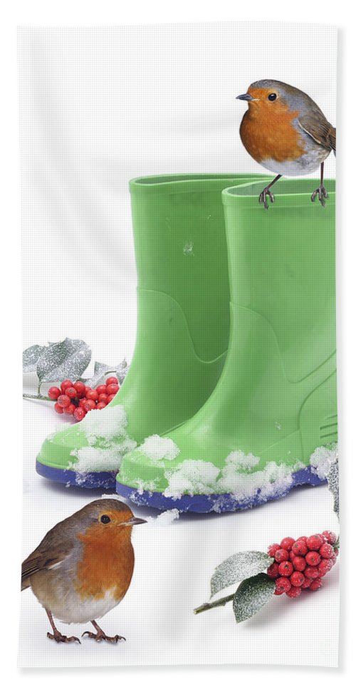 Robins Hand Towel featuring the photograph Robins And Green Wellies by Warren Photographic
