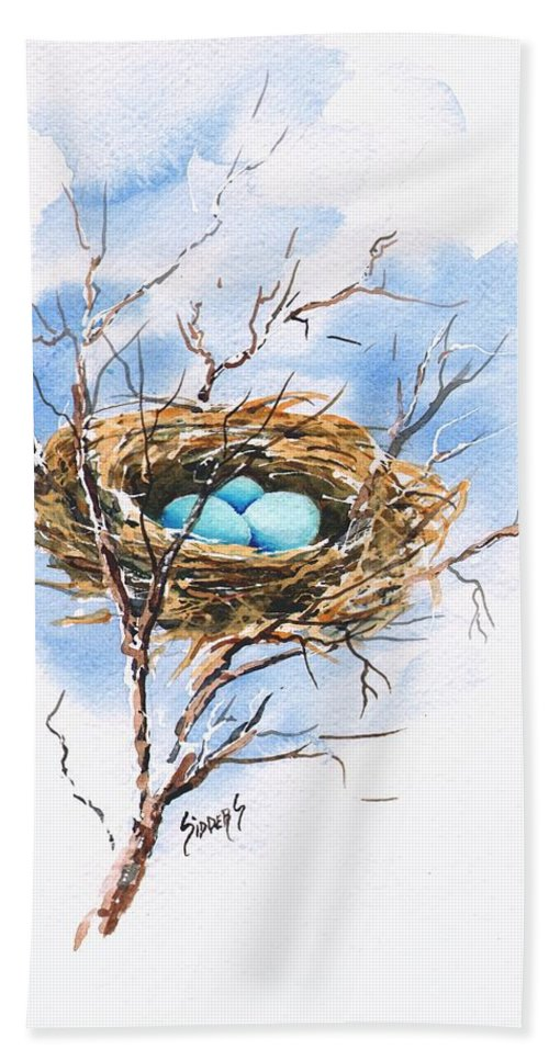 Nest Hand Towel featuring the painting Robin's Nest by Sam Sidders