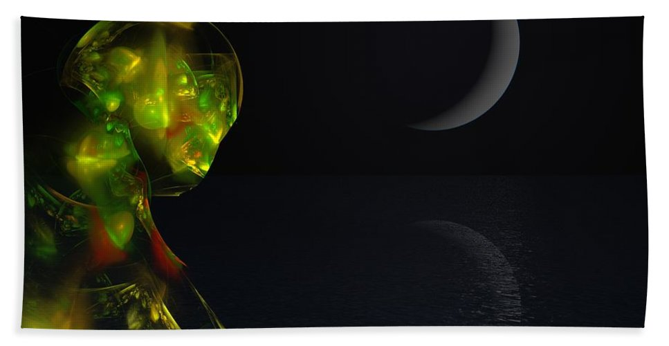 Abstract Digital Painting Bath Towel featuring the digital art Robot Moonlight Serenade by David Lane