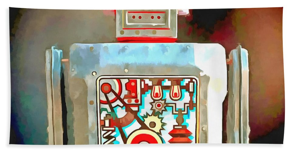 Robot Hand Towel featuring the photograph Robot Pop Art R-1 by Edward Fielding
