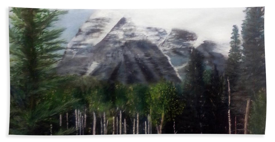 Mountain Hand Towel featuring the painting Robson's Spirit by Stuart Kenn