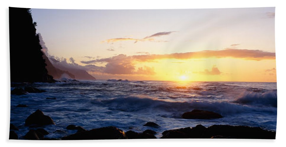 Photography Bath Sheet featuring the photograph Rock At The Coast, Na Pali Coast by Panoramic Images