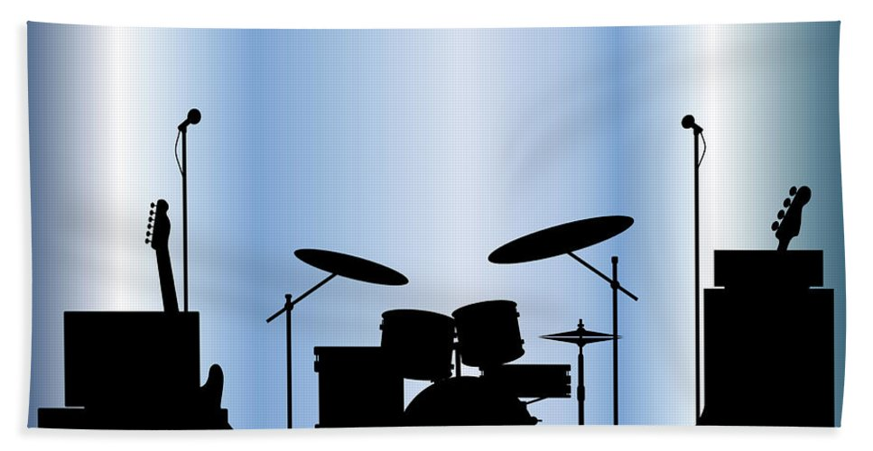 Rock Bandm Guitar Bath Towel featuring the digital art Rock Band Equipment by Bigalbaloo Stock