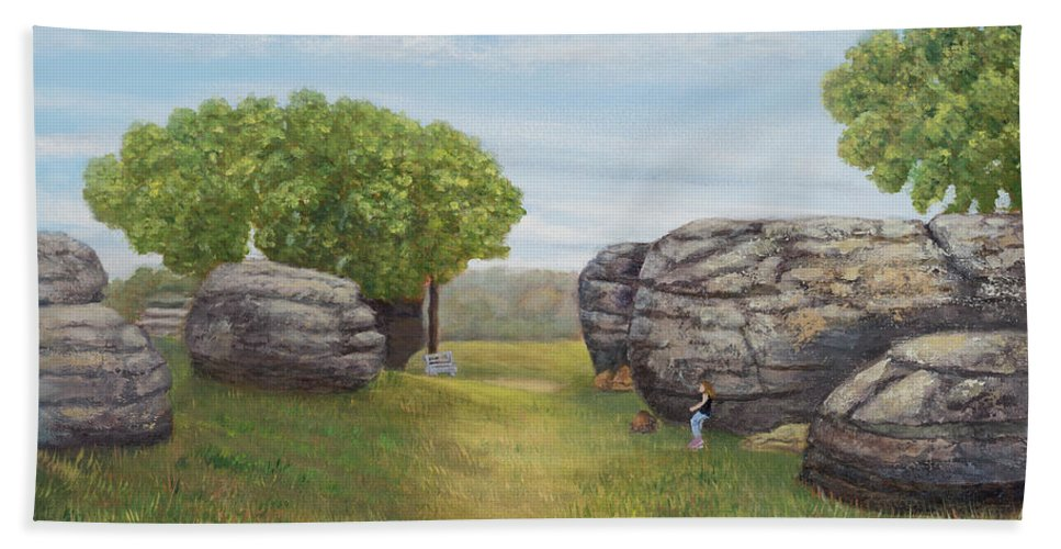 Landscape Bath Sheet featuring the painting Rock City, Kanss by Nadine Button