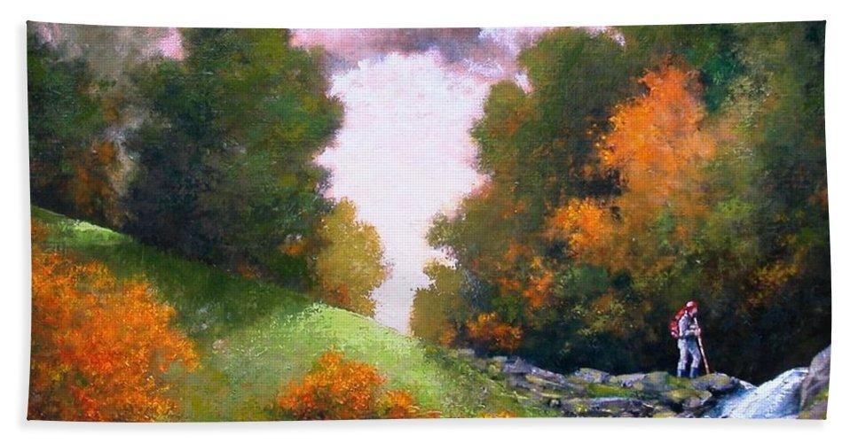 Artist Bath Sheet featuring the painting Rock Creek by Jim Gola