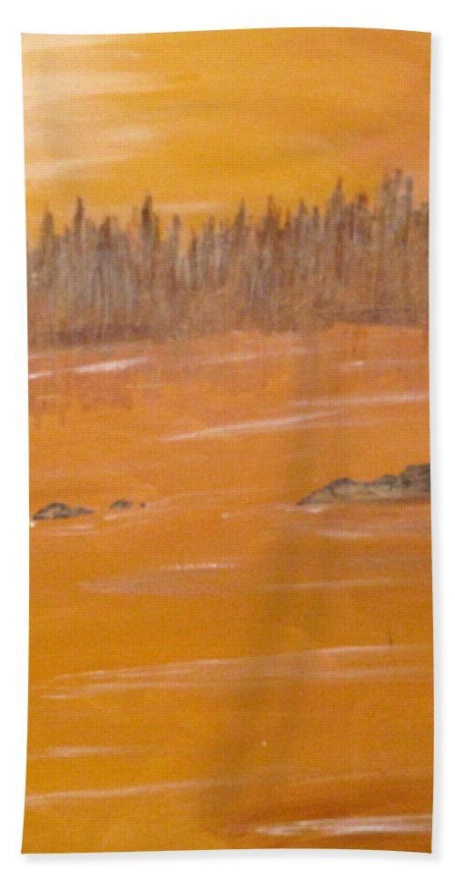 Northern Ontario Bath Towel featuring the painting Rock Lake Morning 2 by Ian MacDonald