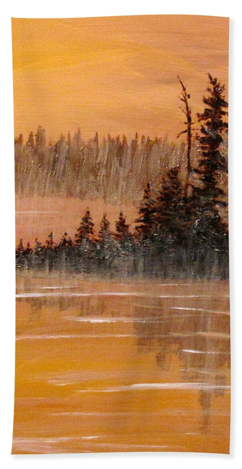 Northern Ontario Hand Towel featuring the painting Rock Lake Morning 3 by Ian MacDonald