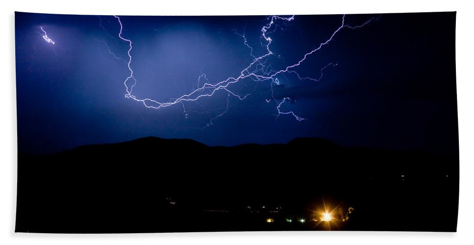Lightning Hand Towel featuring the photograph Rock Mountains Foot Hills Lightning Storm by James BO Insogna