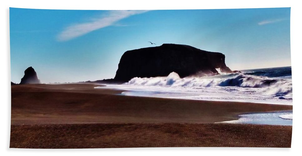 Rock Point Bodega Bay California Bath Sheet featuring the photograph Rock Point In Bodega Bay by Peggy Leyva Conley