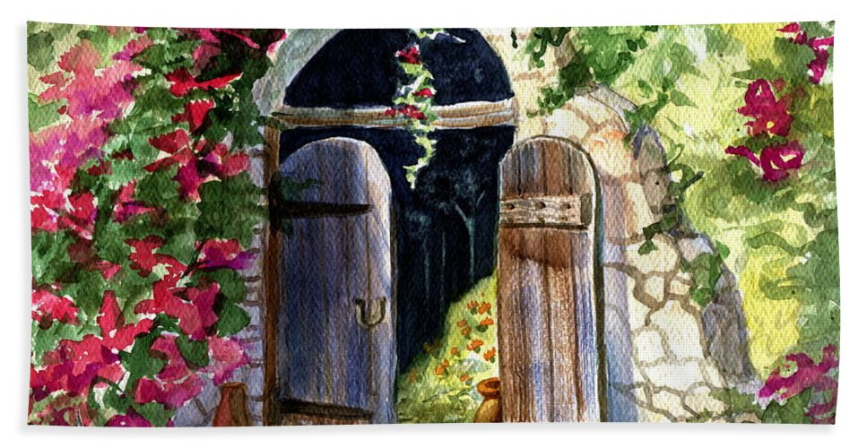 Garden Gate Bath Sheet featuring the painting Rock Springs Gate by Marilyn Smith