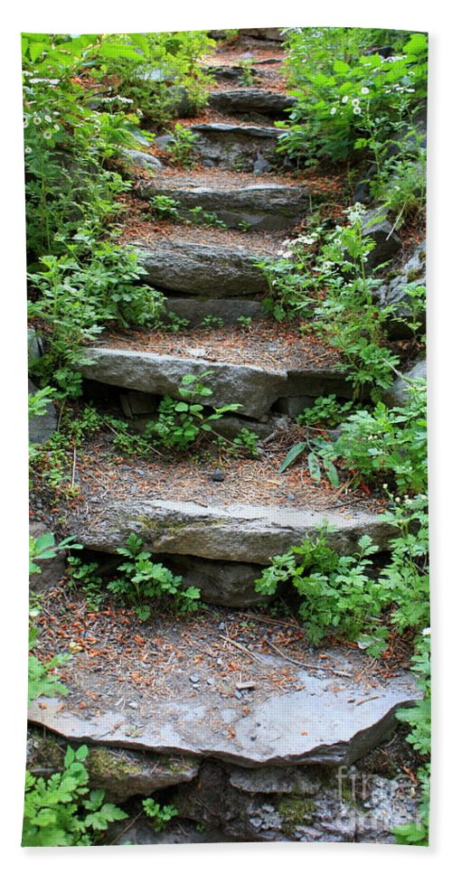 Rock Stairs Bath Towel featuring the photograph Rock Stairs by Carol Groenen