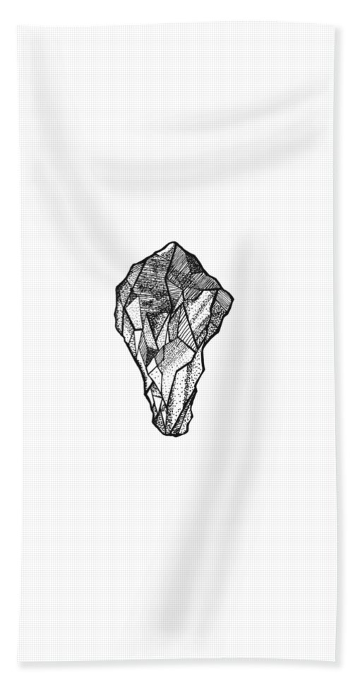 Abstract Hand Towel featuring the drawing Rock Study by Jessica Mileur
