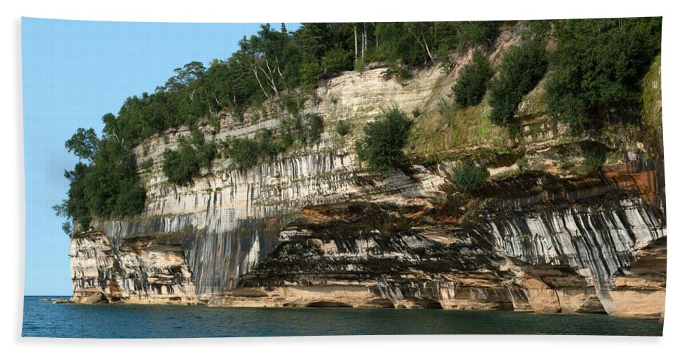 Lake Superior Hand Towel featuring the photograph Rock With Colors by Linda Kerkau