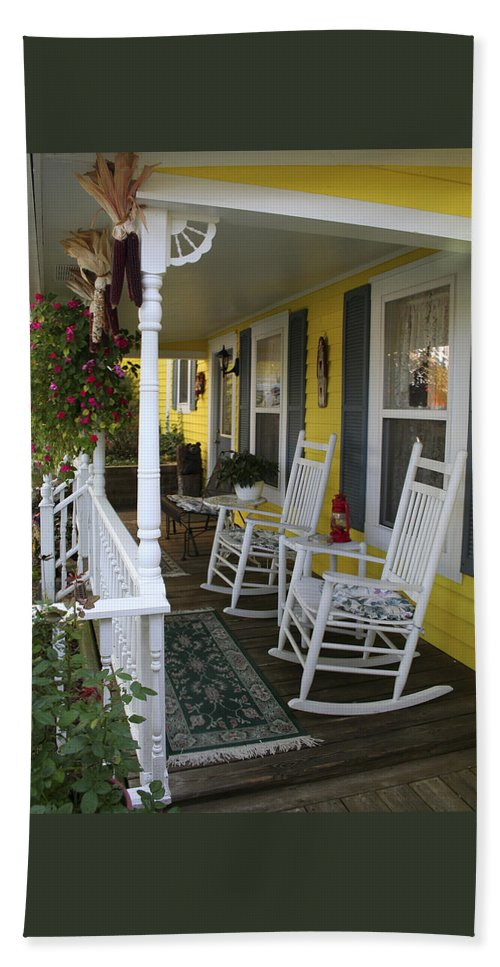 Rocking Chair Bath Towel featuring the photograph Rockers On The Porch by Margie Wildblood
