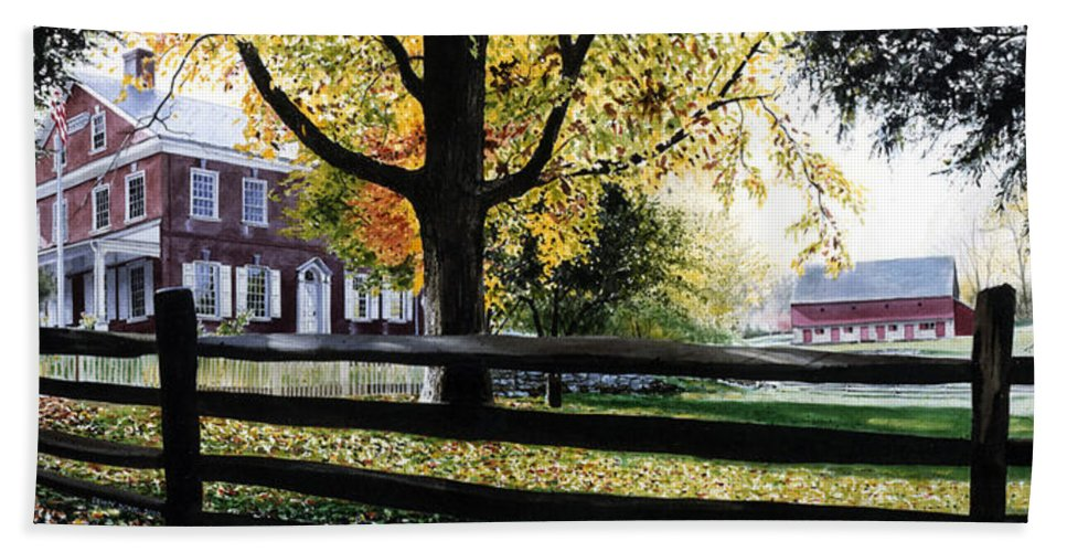 Lancaster County Pa Hand Towel featuring the painting Rockford In Autumn by Denny Bond