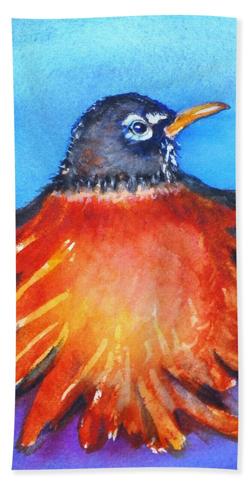 Bird Hand Towel featuring the painting Rockin Robin by Patricia Piffath