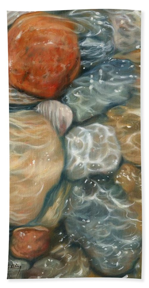 Rockpool Hand Towel featuring the painting Rockpool by David Stribbling