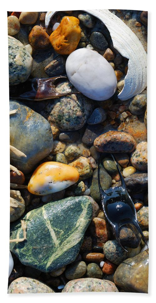Rocks Hand Towel featuring the photograph Rocks And Shells by Charles Harden