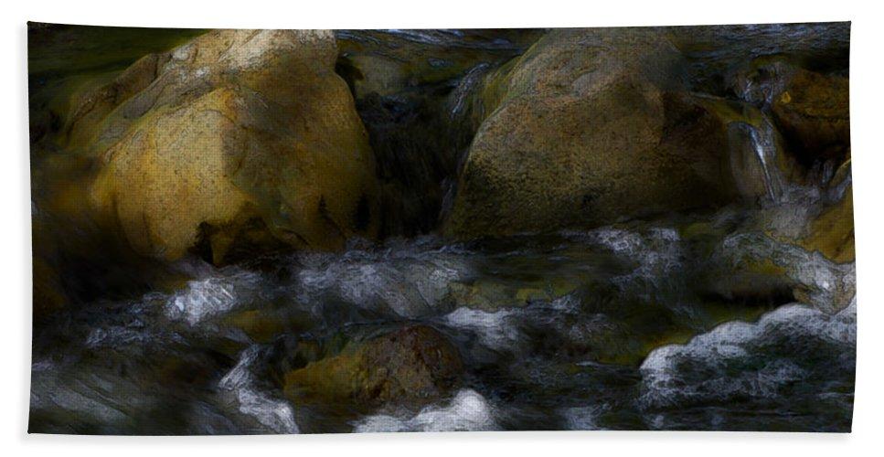 Rocks Bath Sheet featuring the photograph Rocks And Water by Karen W Meyer
