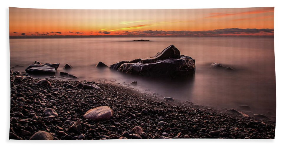 Waterscape Hand Towel featuring the photograph Rocks And Water by Linda Ryma