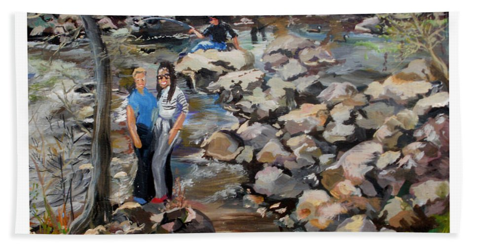Bath Sheet featuring the painting Rocks On The Brandywine by Keith OBrien Simms