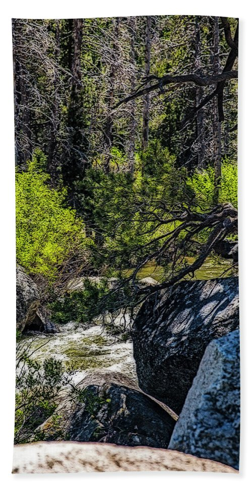 Waterfall. Rocks. Branches Bath Sheet featuring the photograph Rocks Water And Knarly Branches by Nancy Marie Ricketts