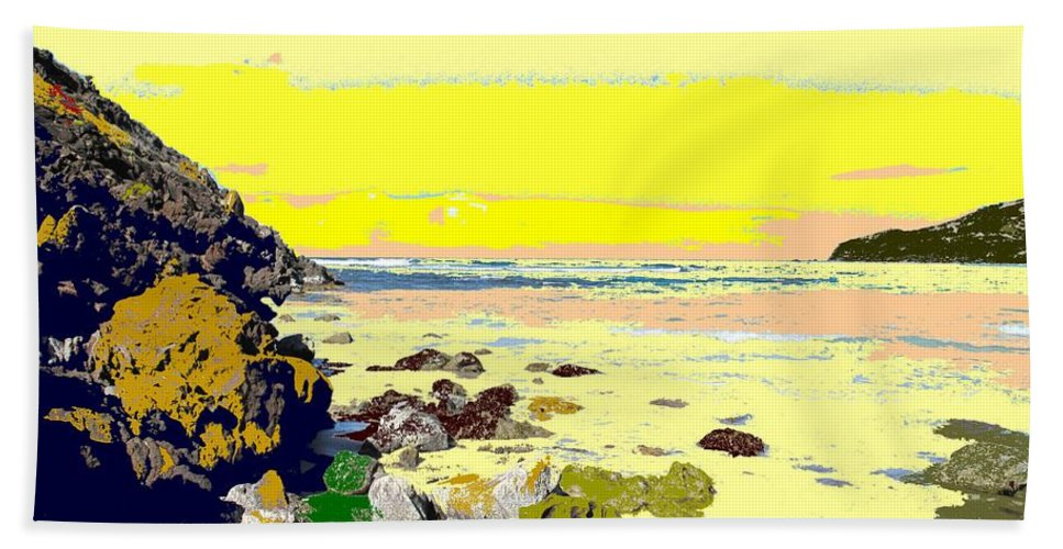 Beach Bath Towel featuring the photograph Rocky Beach by Ian MacDonald