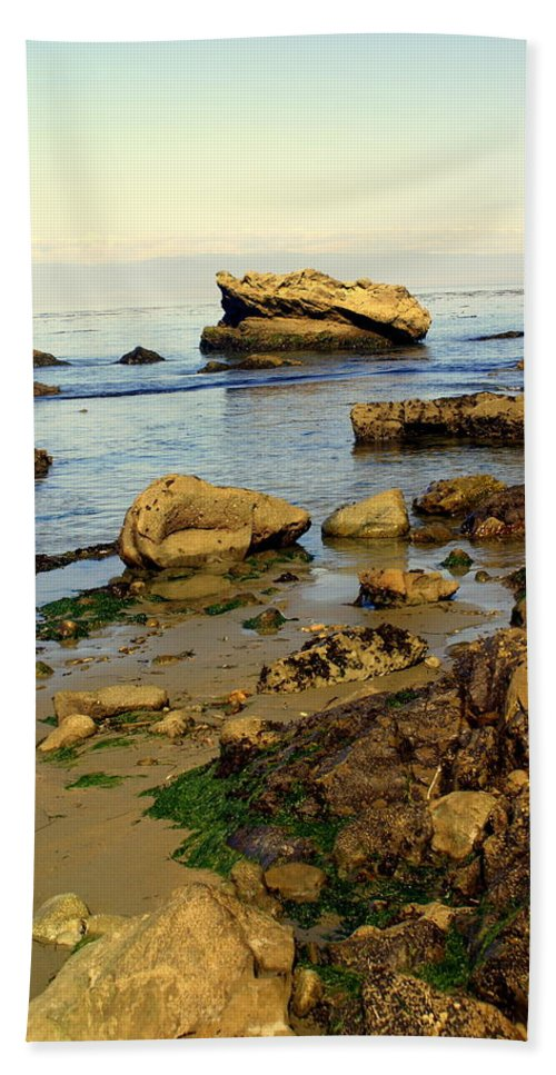 Beach Bath Sheet featuring the photograph Rocky Beach by Marty Koch
