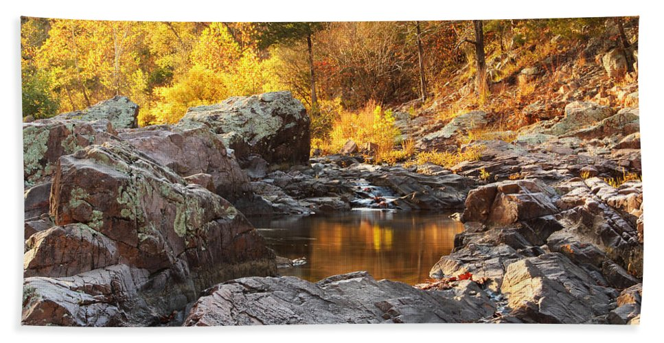 Autumn Bath Sheet featuring the photograph Rocky Creek II On Mill Mountain In The Missouri Ozarks by Greg Matchick