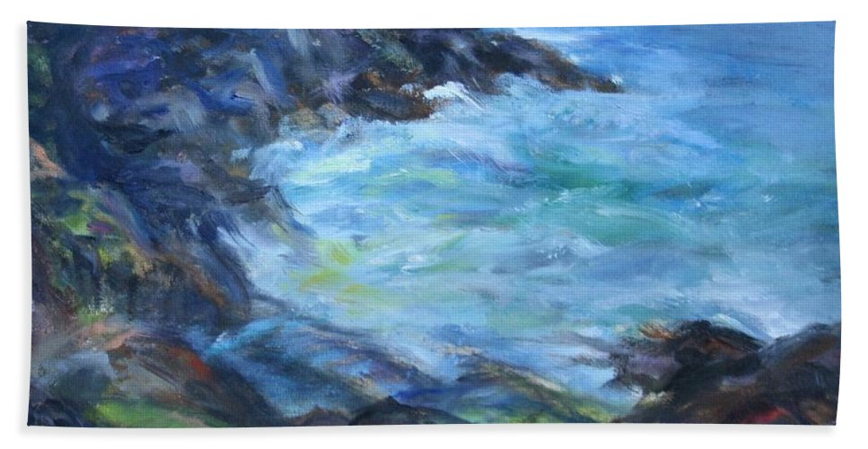 Quin Sweetman Hand Towel featuring the painting Rocky Creek Viewpoint by Quin Sweetman