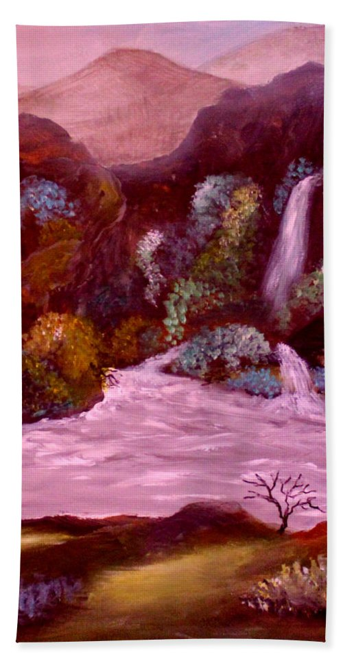 Landscape Hand Towel featuring the painting Rocky Inlet 3 by Sandra Young Servis