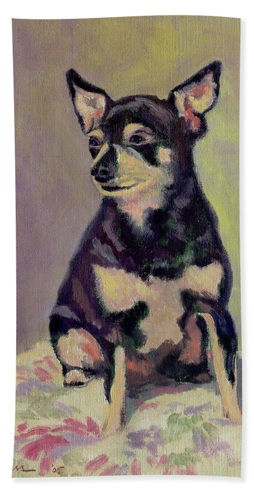 Dog Hand Towel featuring the painting Rocky by Keith Burgess