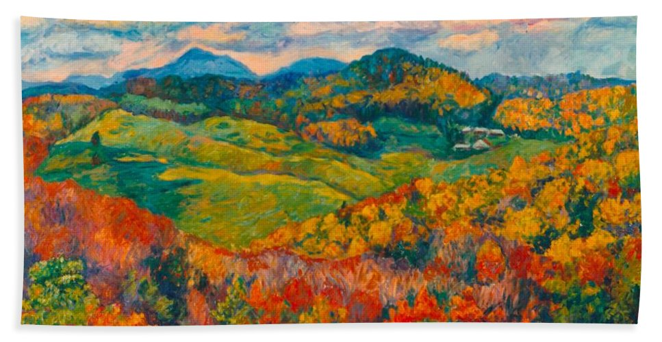 Rocky Knob Bath Sheet featuring the painting Rocky Knob In Fall by Kendall Kessler