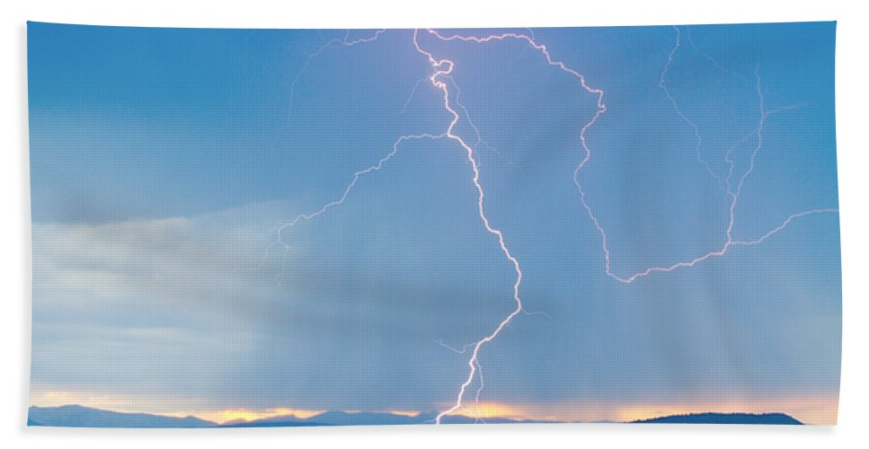 July Hand Towel featuring the photograph Rocky Mountain Front Range Foothills Lightning Strikes 1 by James BO Insogna