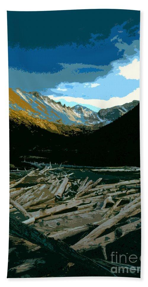 Rocky Mountain National Park Bath Sheet featuring the painting Rocky Mountain National Park by David Lee Thompson