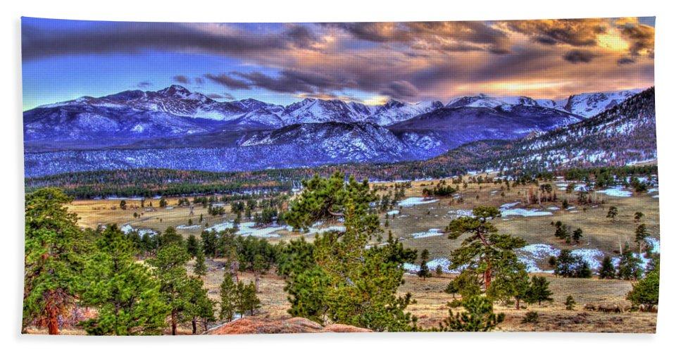 Colorado Bath Sheet featuring the photograph Rocky Mountain Sunset by Scott Mahon