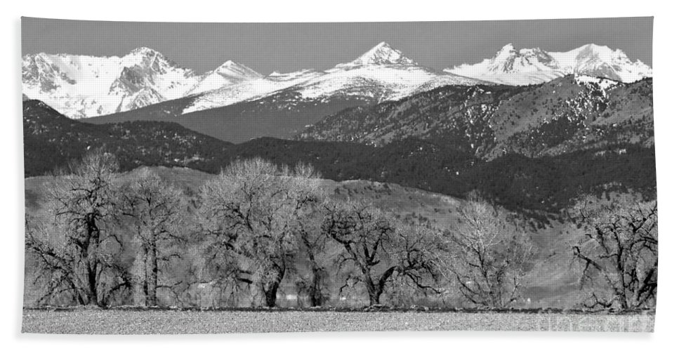 Rocky Mountains Bath Sheet featuring the photograph Rocky Mountain View Bw by James BO Insogna