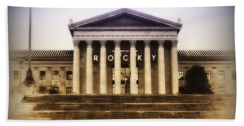 Rocky Balboa Hand Towel featuring the photograph Rocky On The Art Museum Steps by Bill Cannon