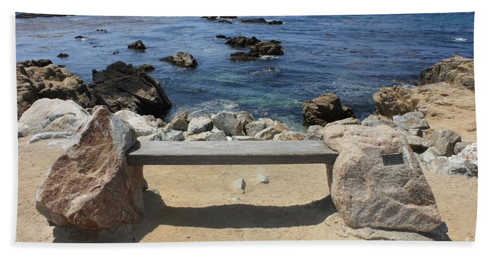 Seaside Bench Hand Towel featuring the photograph Rocky Seaside Bench by Carol Groenen