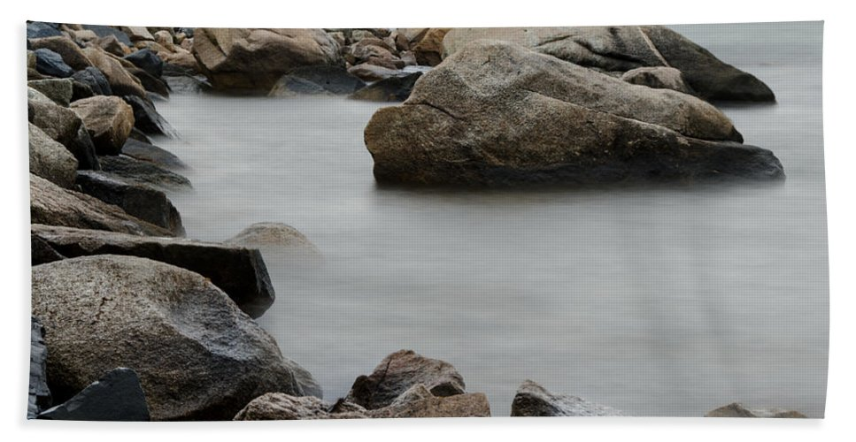 Ocean Bath Sheet featuring the photograph Rocky Shore by Eleanor Bortnick